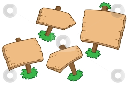 Various wooden signs stock vector clipart, Various wooden signs - vector illustration. by Klara Viskova