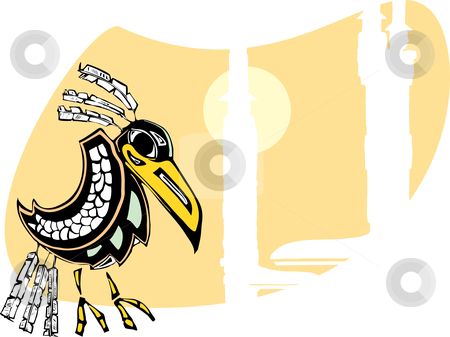 Raven stock vector clipart, Mythical Raven rendered in Northwest Coast Native style. by Jeffrey Thompson