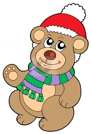 Christmas teddy bear stock vector clipart, Christmas teddy bear - vector illustration. by Klara Viskova
