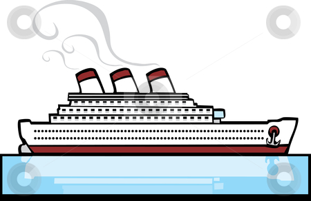 Ocean Liner stock vector clipart, Ocean liner on warm blue tropical waters. by Jeffrey Thompson