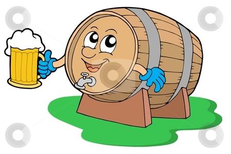 Smiling wooden keg holding beer stock vector clipart, Smiling wooden keg holding beer - vector illustration. by Klara Viskova
