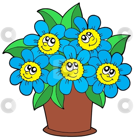Cute flowers in pot stock vector clipart, Cute flowers in pot - vector illustration. by Klara Viskova