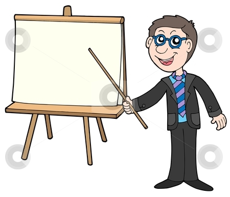 Businessman with table stock vector clipart, Businessman with table - vector illustration. by Klara Viskova