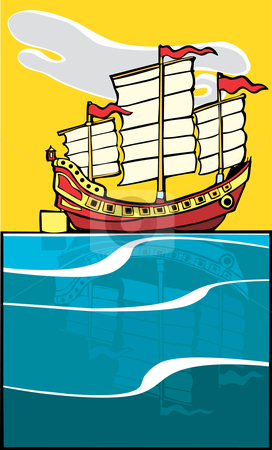 Chinese Junk stock vector clipart, Chinese Junk on ocean with reflection on the water. by Jeffrey Thompson