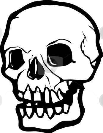 Nightmare Skull stock vector clipart, Simple rendering of a human skull in black and white. by Jeffrey Thompson