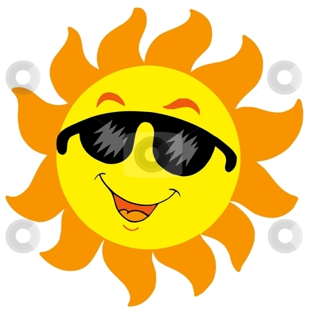 Cartoon Sun with sunglasses stock vector clipart, Cartoon Sun with sunglasses - vector illustration. by Klara Viskova