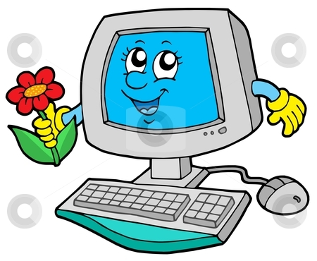Cute computer with flower stock vector clipart, Cute computer with flower - vector illustration. by Klara Viskova