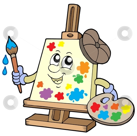 Cartoon canvas artist stock vector clipart, Cartoon canvas artist - vector illustration by Klara Viskova