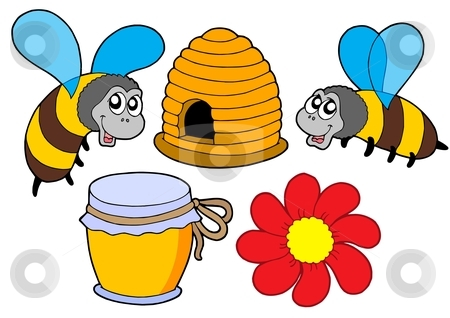 Bee and honey collection stock vector clipart, Bee and honey collection - vector illustration. by Klara Viskova