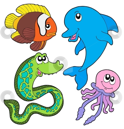 Marine fishes collection stock vector clipart, Marine fishes collection - vector illustration. by Klara Viskova