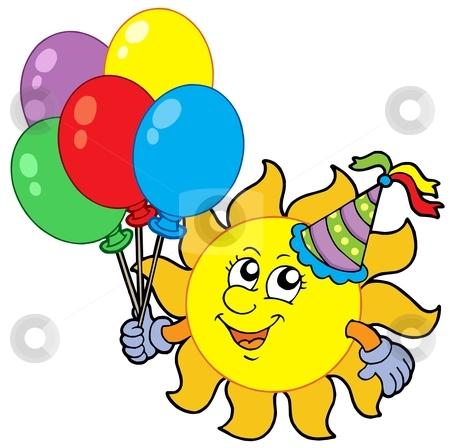 Party sun with balloons stock vector clipart, Party sun with balloons - vector illustration. by Klara Viskova