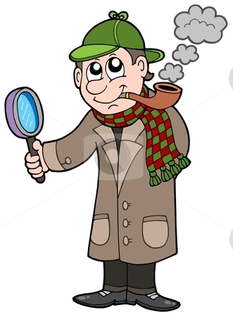 Cartoon detective stock vector clipart, Cartoon detective - vector illustration. by Klara Viskova