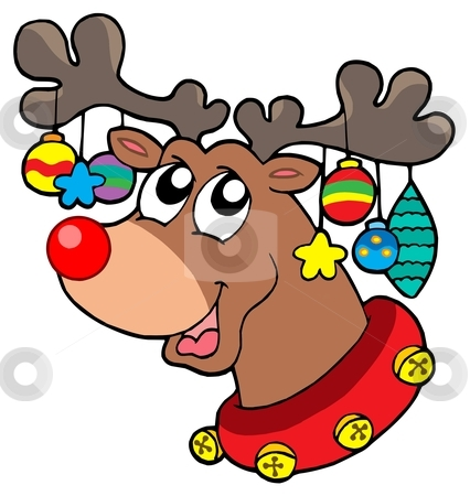 Reindeer with Christmas decorations stock vector clipart, Reindeer with Christmas decorations - vector illustration. by Klara Viskova