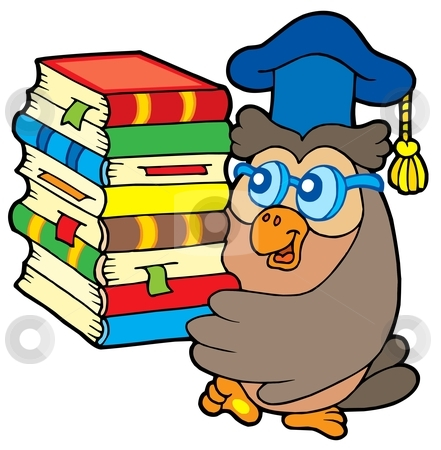 Owl teacher holding pile of books stock vector clipart, Owl teacher holding pile of books - vector illustration. by Klara Viskova