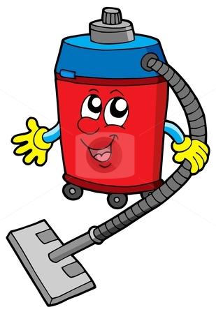Cute vacuum cleaner stock vector clipart, Cute vacuum cleaner - vector illustration. by Klara Viskova