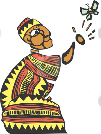 Kneel stock vector clipart, African man in colorful clothes releasing a butterfly. by Jeffrey Thompson