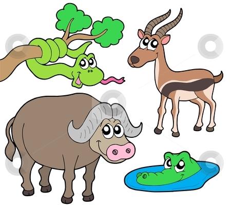 African animals collection 2 stock vector clipart, African animals collection 2 - vector illustration. by Klara Viskova