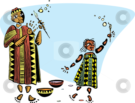 Painting with Father stock vector clipart, Father and daughter in african patterned clothes and paintbrushes. by Jeffrey Thompson