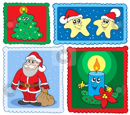Christmas post stamps collection 2 stock vector clipart, Christmas post stamps collection 2 - vector illustration. by Klara Viskova