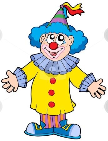 Smiling clown stock vector clipart, Smiling clown - vector illustration. by Klara Viskova
