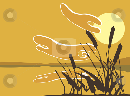 Reeds stock vector clipart, A patch of reeds that might grow on the edges of a pond. by Jeffrey Thompson