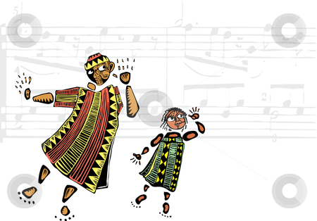 Listen to the Music stock vector clipart, Father and daughter in African patterned clothes listen to music. by Jeffrey Thompson