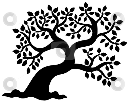Leafy tree silhouette stock vector clipart, Leafy tree silhouette - vector illustration. by Klara Viskova