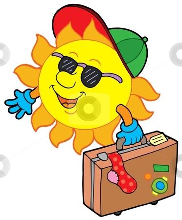 Cartoon sun traveller stock vector clipart, Cartoon sun traveller - vector illustration. by Klara Viskova