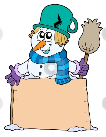 Snowman with sign and broom stock vector clipart, Snowman with sign and broom - vector illustration. by Klara Viskova