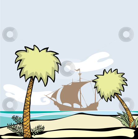 Dry Tortugas stock vector clipart, Pirate ship at anchor off the shore of a deserted island with palm trees. by Jeffrey Thompson