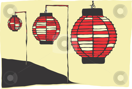 Paper Lanterns stock vector clipart, Three Paper Lanterns on a Japanese hillside. by Jeffrey Thompson