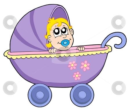 Baby in buggy vector illustration stock vector clipart, Baby in buggy - vector illustration. by Klara Viskova