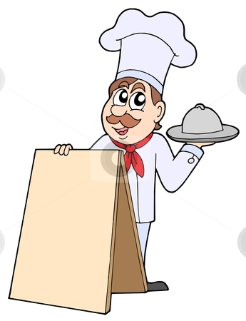 Chef with table stock vector clipart, Chef with table - vector illustration. by Klara Viskova