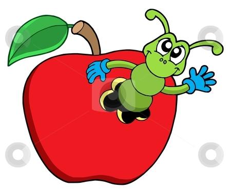 Cute worm in apple stock vector clipart, Cute worm in apple - vector illustration. by Klara Viskova