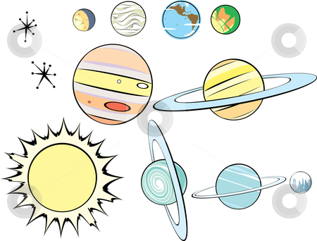 Retro Solar System stock vector clipart, Stars, Planets and Sun in Retro Style by Jeffrey Thompson