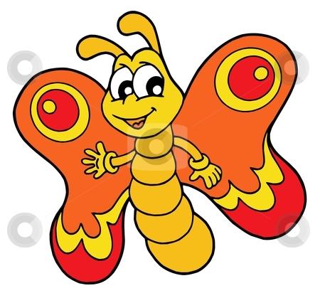 Small orange butterfly vector illustration stock vector clipart, Small orange butterfly - vector illustration. by Klara Viskova