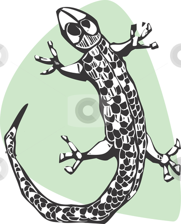 Gecko stock vector clipart, A simple lizard done in a woodcut style. by Jeffrey Thompson