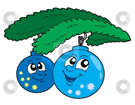 Cute blue Christmas globes stock vector clipart, Cute blue Christmas globes - vector illustration. by Klara Viskova