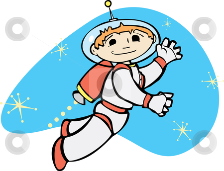 Jet Boy stock vector clipart, Retro boy in a jet pack flies through space. by Jeffrey Thompson