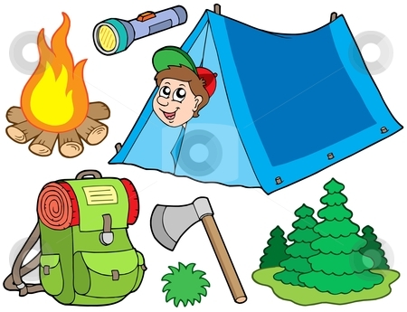 Camping collection stock vector clipart, Camping collection on white background - vector illustration. by Klara Viskova