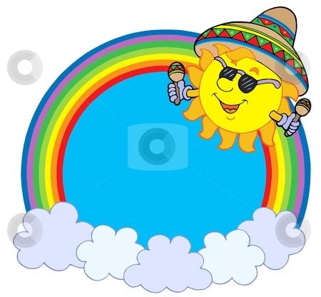 Rainbow circle with Mexican sun stock vector clipart, Rainbow circle with Mexican sun - vector illustration. by Klara Viskova