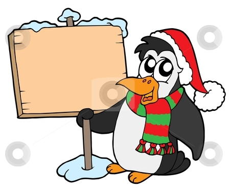 Christmas penguin with sign stock vector clipart, Christmas penguin with sign - vector illustration. by Klara Viskova