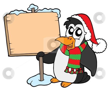 Christmas penguin with sign stock vector clipart, Christmas penguin with sign - vector illustration. by Klara Viskova