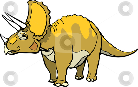 Triceratops  stock vector clipart, Triceratops  with a pleasant expression and orange patterning. by Jeffrey Thompson