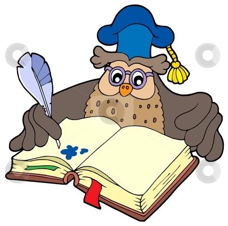 Writing owl teacher stock vector clipart, Writing owl teacher - vector illustration. by Klara Viskova