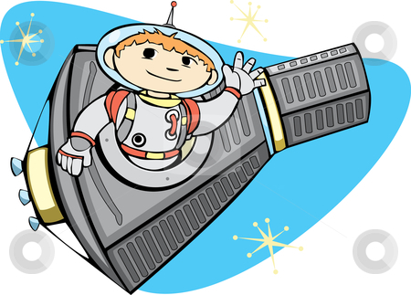 Mercury Capsule and Space Boy stock vector clipart, Retro Mercury Space Capsule with a boy in a spacesuit. by Jeffrey Thompson