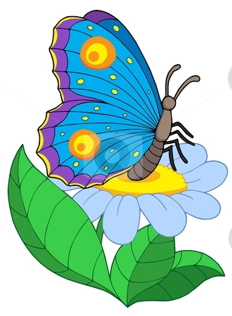 Butterfly with flower stock vector clipart, Butterfly with flower - vector illustration. by Klara Viskova