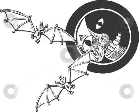 Bats and Moon stock vector clipart, Two bats flying together in the night. by Jeffrey Thompson