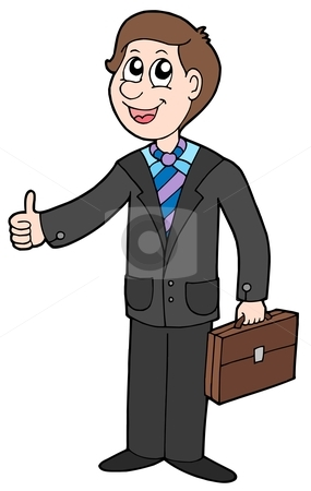 Smiling businessman stock vector clipart, Smiling businessman on whitebackground - vector illustration. by Klara Viskova