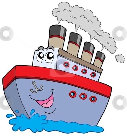 Cartoon boat stock vector clipart, Cartoon boat on white background - vector illustration. by Klara Viskova